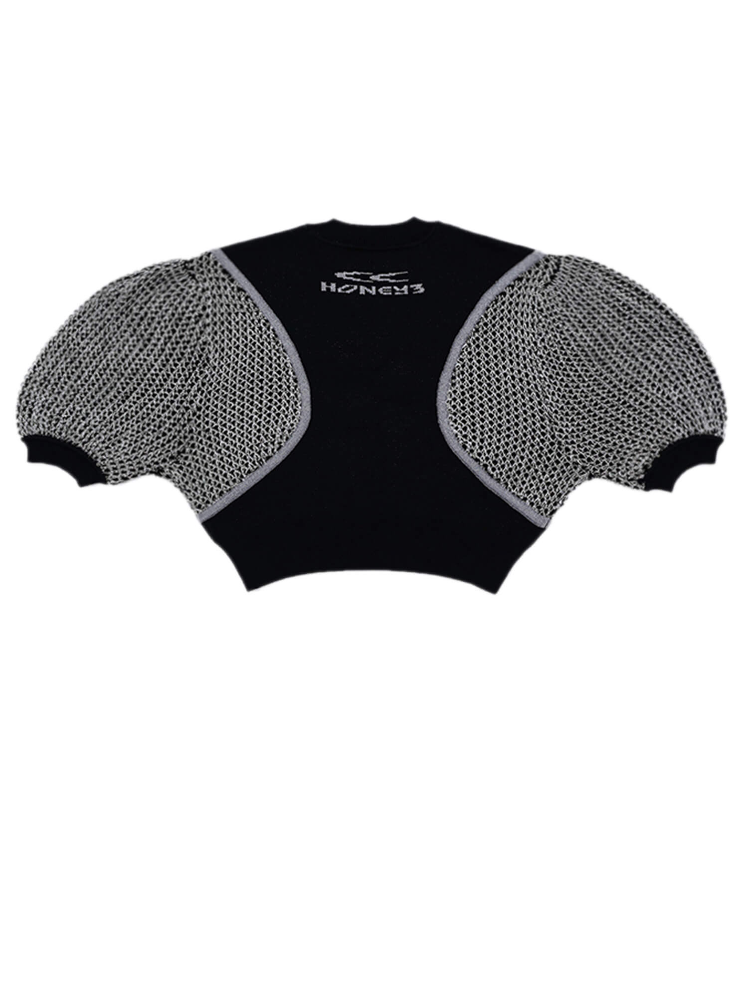 CARRY A CD PLAYER WHEREVER YOU GO SHORT SLEEVE KNIT TOP