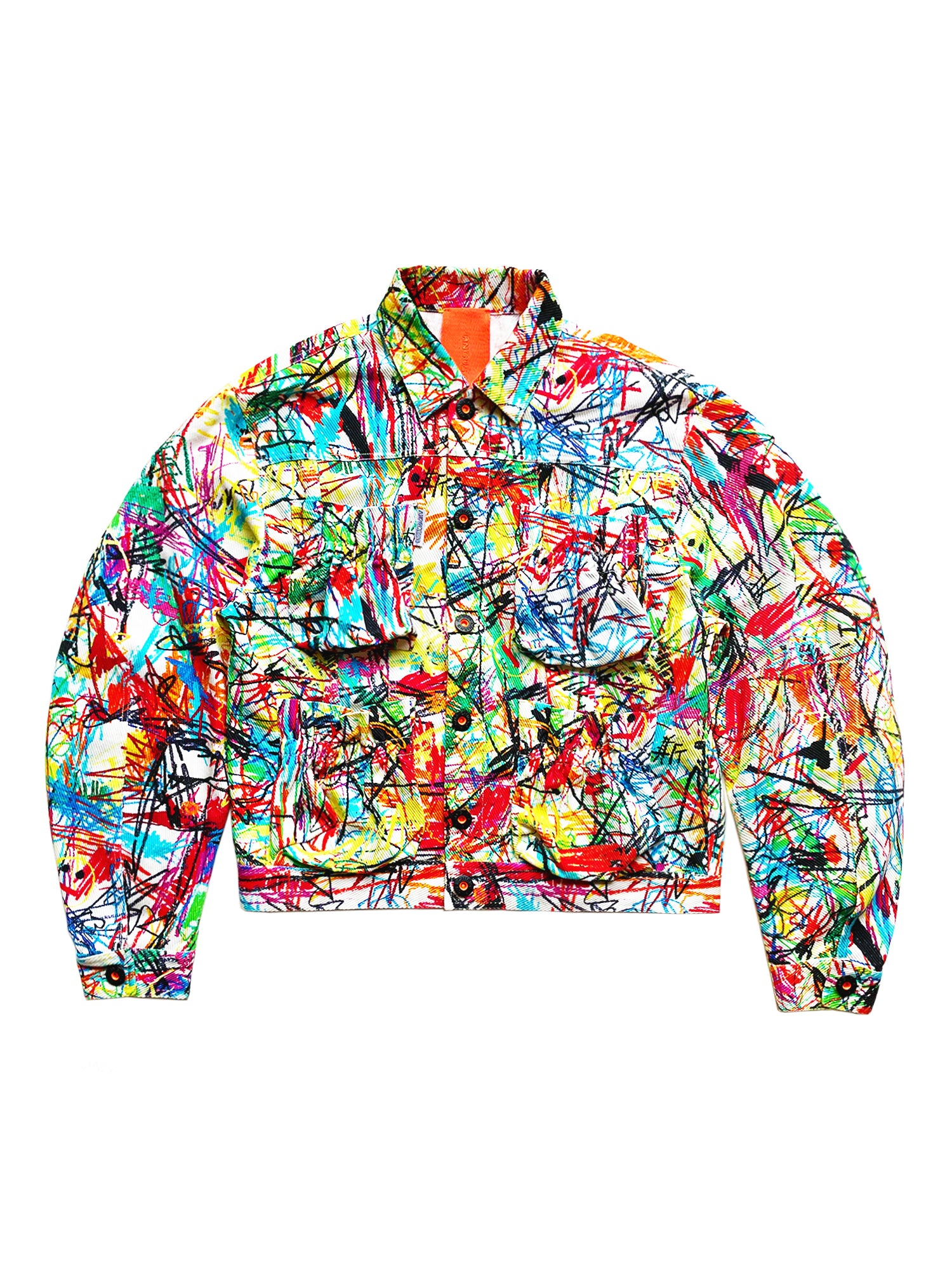 DOODLE PRINT MULTI POCKET DENIM JACKET
