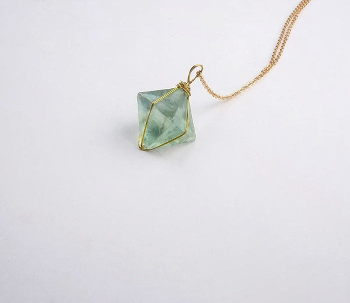 Golden Wire Octahedron Green Fluorite Pendant Necklace