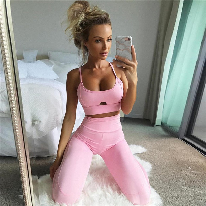 Pink Hollow Women Yoga Sets  Elastic Running Sport Suit