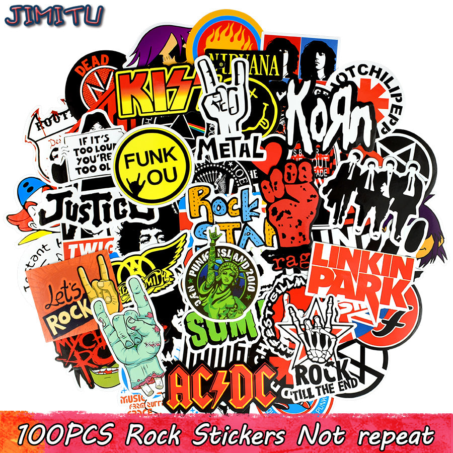 100 PCS Rock Sticker Pack