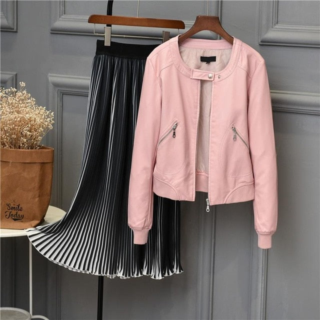 2019 Faux Leather Jacket Women O-neck