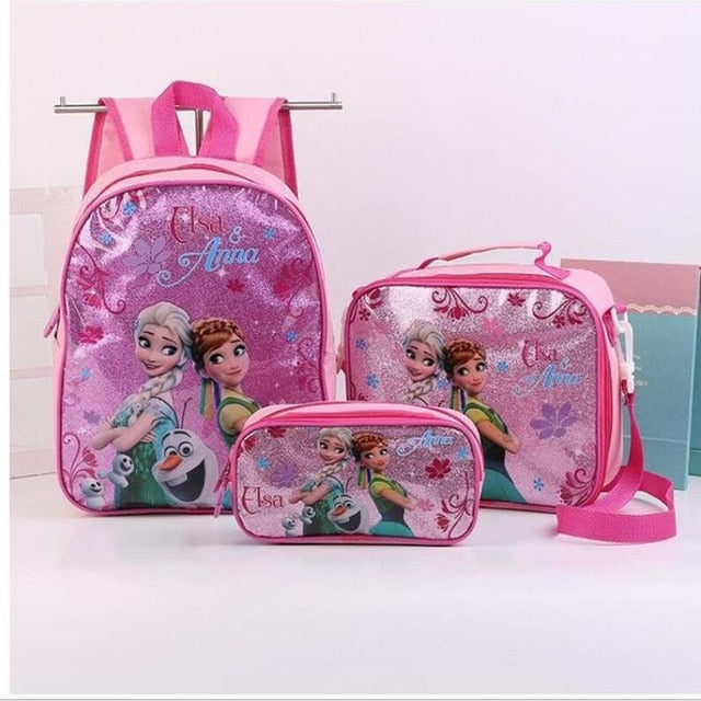 Fashion Kids Girls Cartoon Elsa Princess Schoolbags Cute Kids Backpacks Children School bag 3 Piece Set