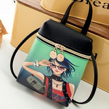 Cartoon leather shoulder bag