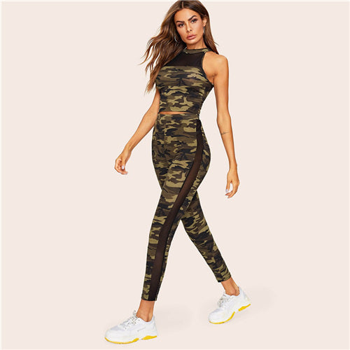 2pc camo top and leggings