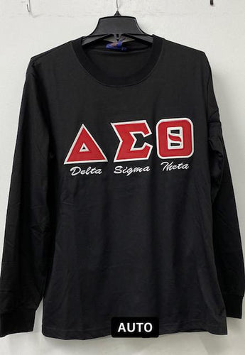 Delta Sigma Theta  Long Sleeve Applique T-Shirt