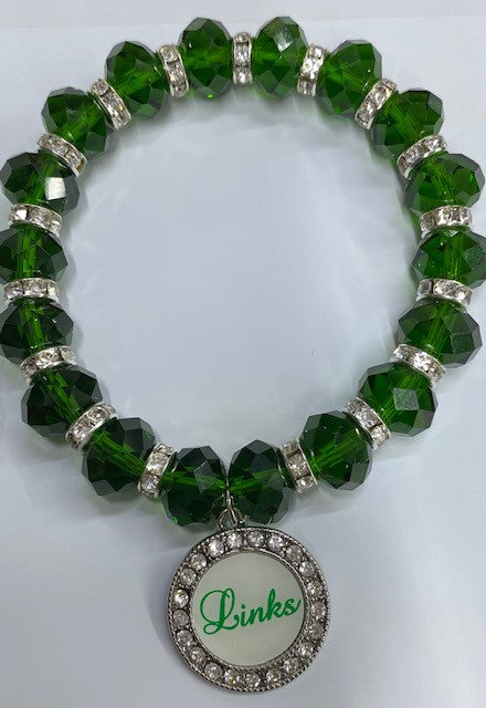 Links Green Crystal Stretch Bracelet