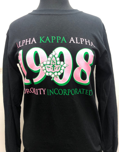 Alpha Kappa Alpha Long Sleeve T-Shirt Black