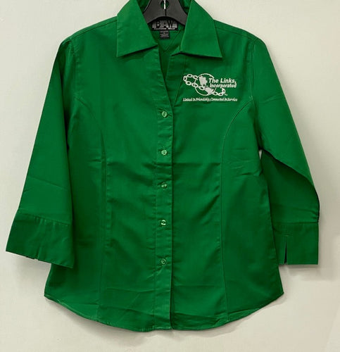 Links Green Button Down Shirt  (Size Up)