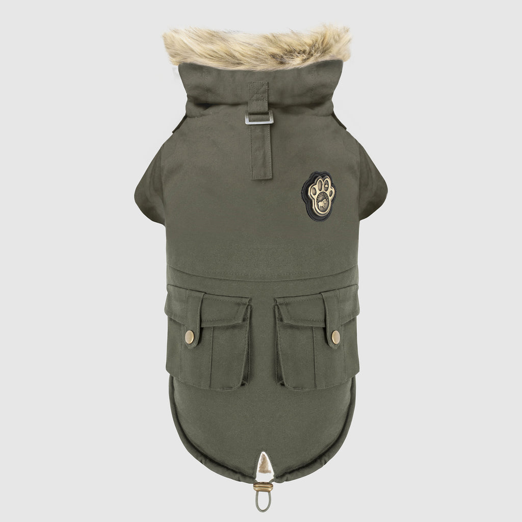 Alaskan Army Dog Parka in Army Green, Canada Pooch Dog Parka