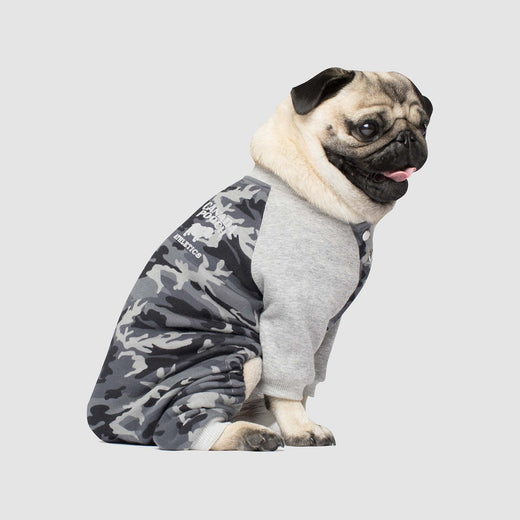 Frosty Fleece Dog Sweatsuit in Black Camo, Canada Pooch Dog Sweatsuit