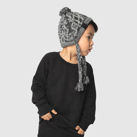 Polar Pom Pom Kids Hat in Grey, Canada Pooch Kids Hat