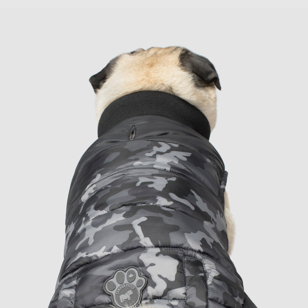 Summit Stretch Dog Vest in Black Camo, Canada Pooch Dog Puffer Vest