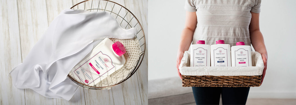 Forever new bottle in a wired basket with white garments