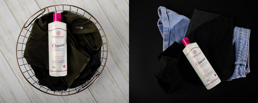ovacion by forever new laundry soap in a wired basket whit black garments
