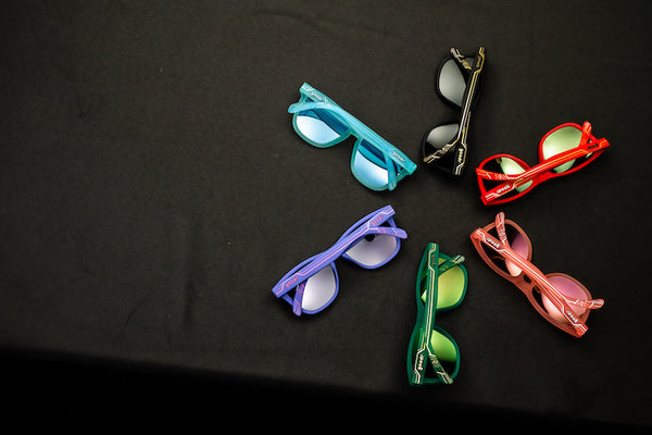 Six OG shaped goodr sunglasses with Art Deco detailing on the arms of the frames