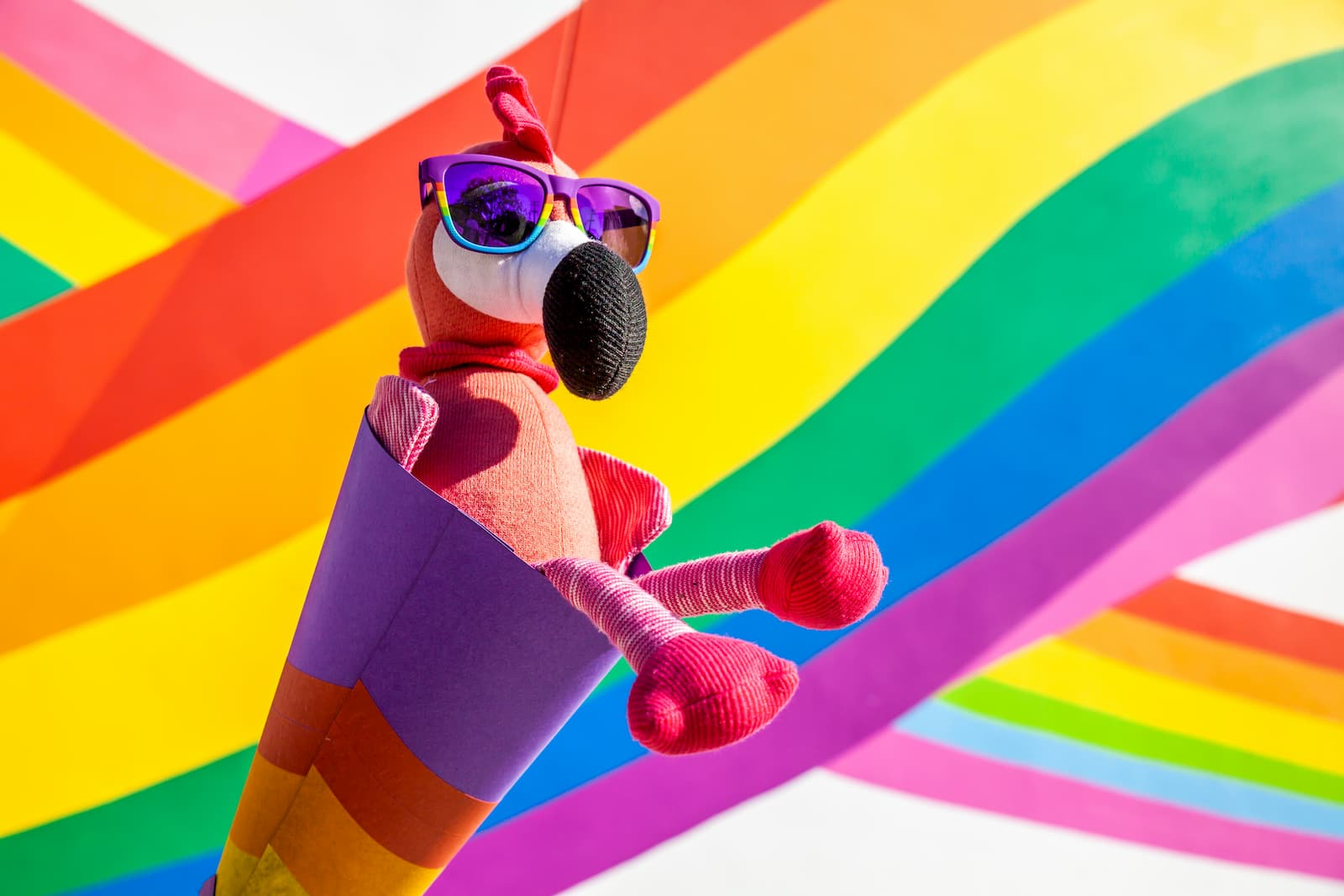 Carl the Flamingo goodr CEO celebrating pride day