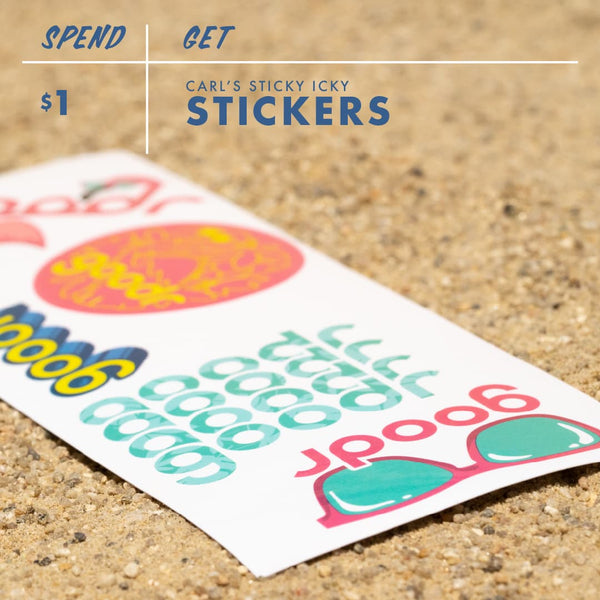 Goodr stickers given with every Black Friday Cyber Monday purchase of over $1