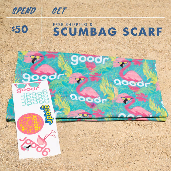 Scumbag scarf with Carl and goodr logo given as a gift for Black Friday Cyber Monday purchases of over $50 - free shipping with these orders as well. You also get the stickers with this purchase.