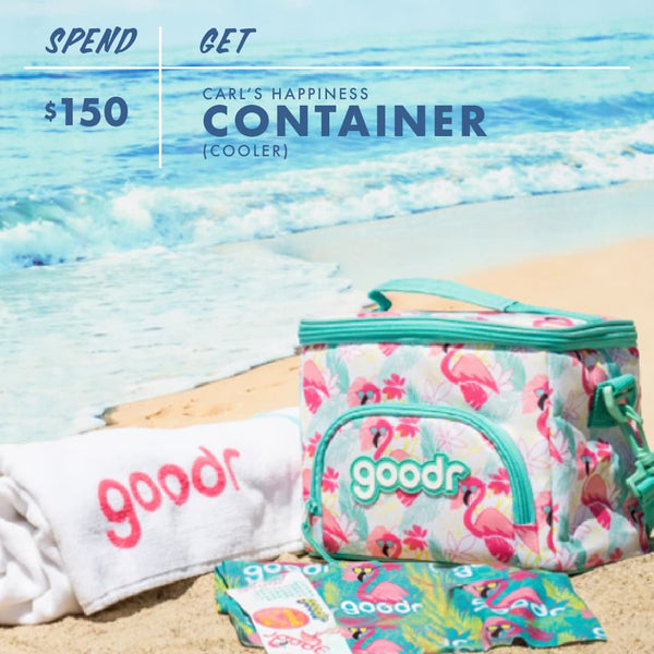 Purchase $150 or more of goodr sunglasses or apparel on Black Friday Cyber Monday and receive this cooler and all of the previous gifts: beach towel, scumbag scarf, free shipping, and stickers