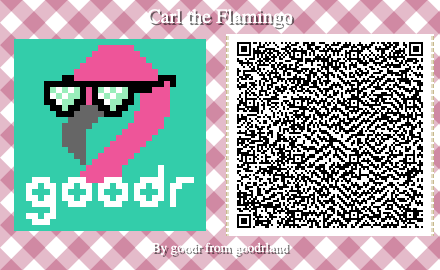 goodr flamingo animal crossing pattern QC code