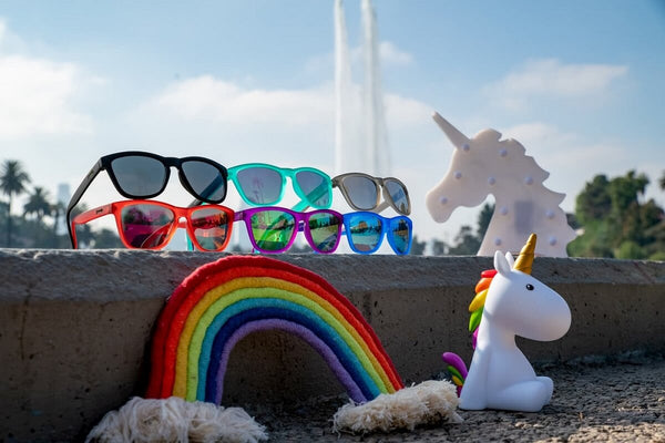 Rainbow sunglasses for running