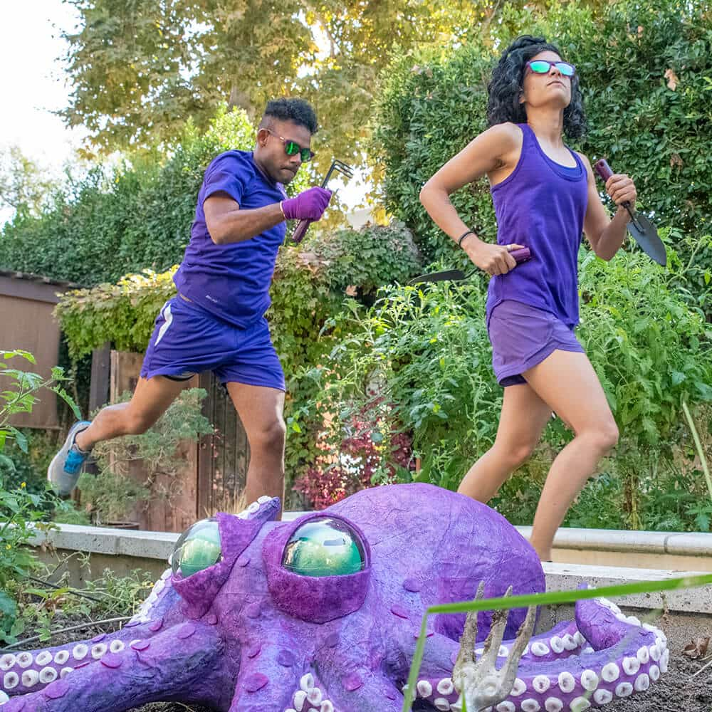 Gardening with a Kraken lifestyle of purple sunglasses