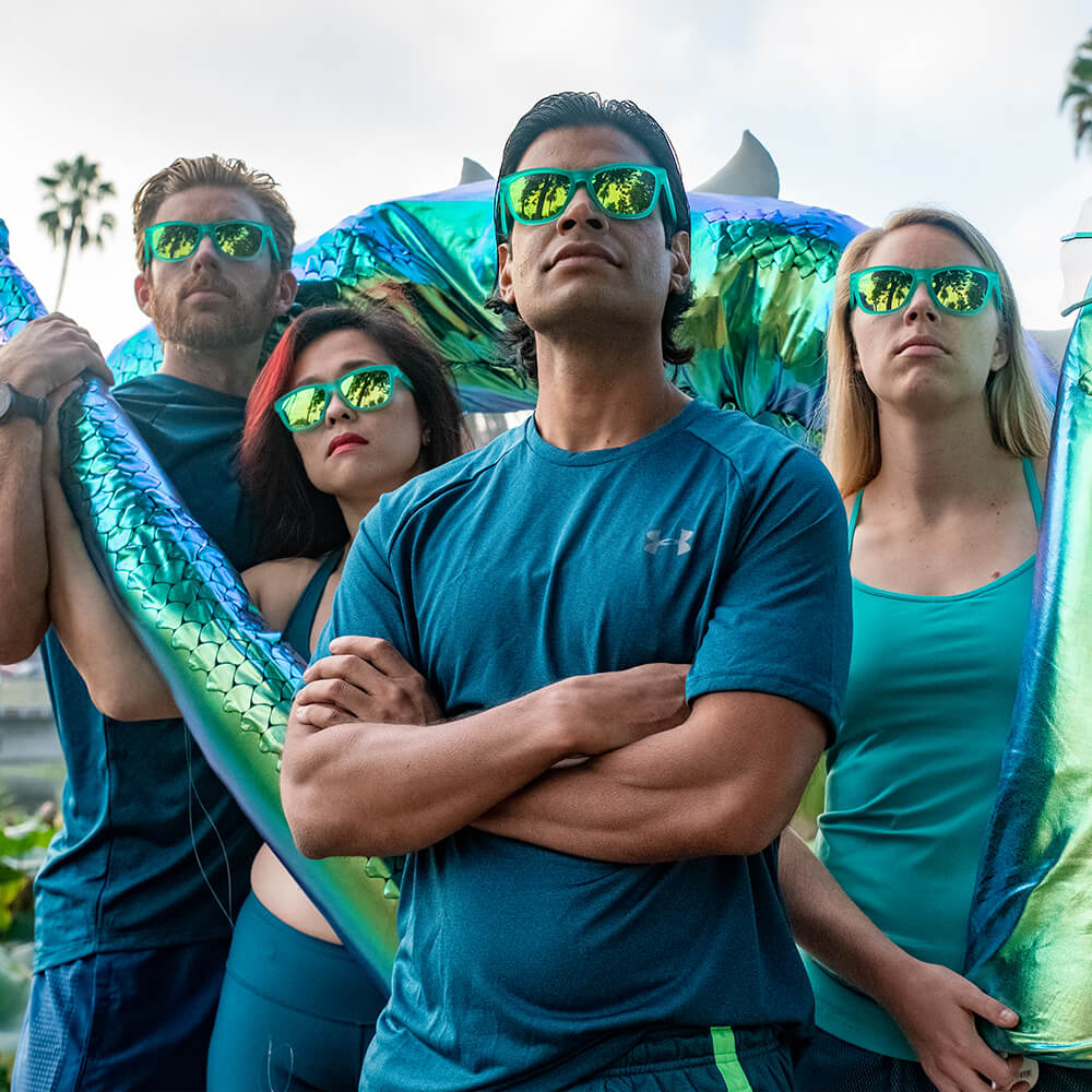 Nessy's polarized green running sunglasses lifestyle