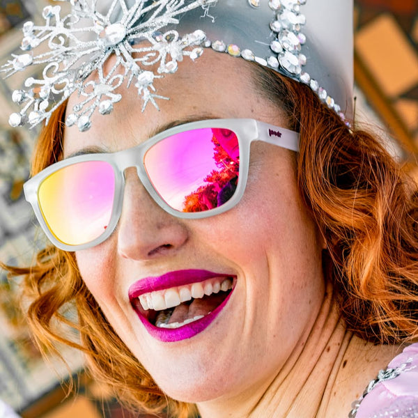 Keri Blunt goodr founder dressed as a princess wearing pink lens running sunglasses