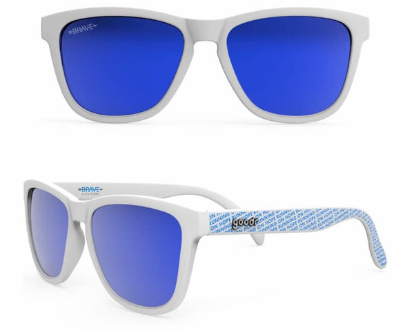 Brave Like Gabe goodr co-brand sunglasses white sunglasses with blue lenses
