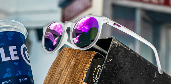 round clear frame mirrored sunglasses purple lenses