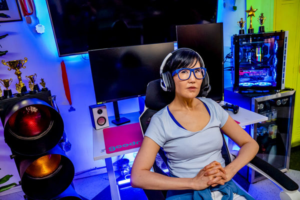 woman gaming wearing gaming glasses by goodr