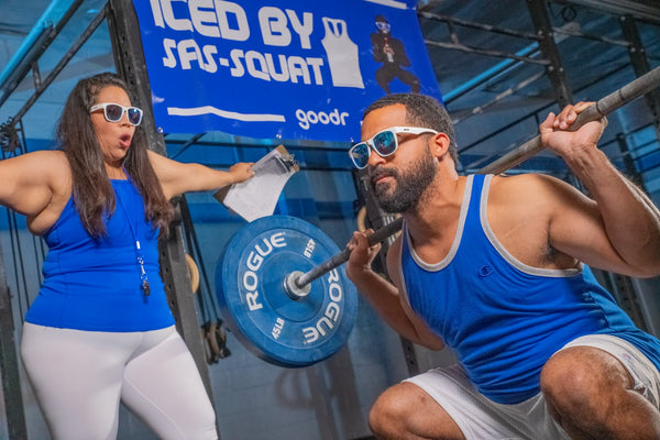 crossfit glasses on man and women working out