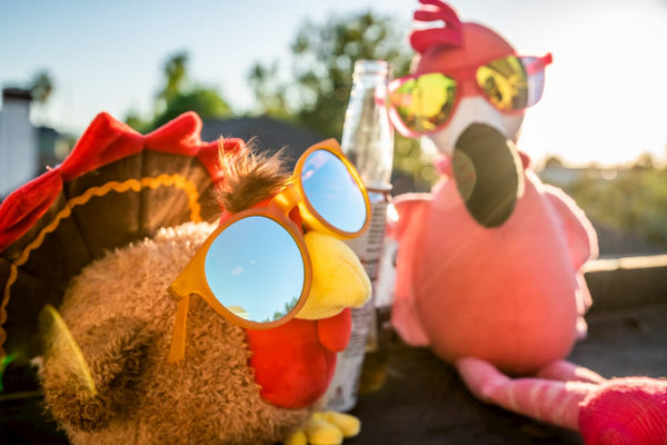 yellow running sunglasses, pink goodr sunglasses on turkey and flamingo