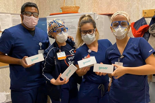 clear lens goodr sunglasses on nurses during covid-19