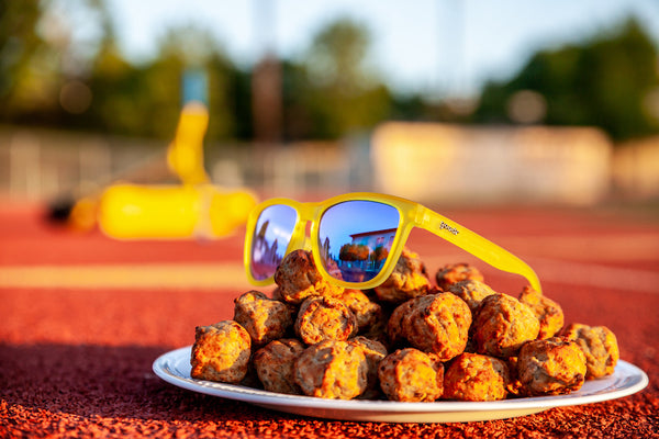 yellow mirrored sunglasses on meatballs