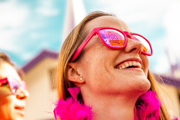 polarized pink sunglasses on woman