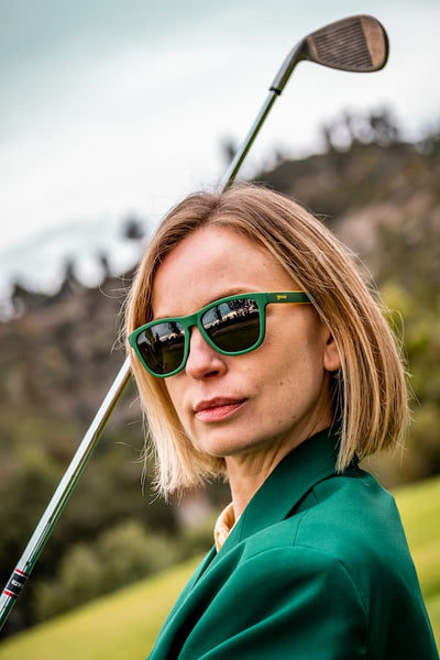 goodr golf sunglasses 2020 masters tournament green polarized sunglasses on woman