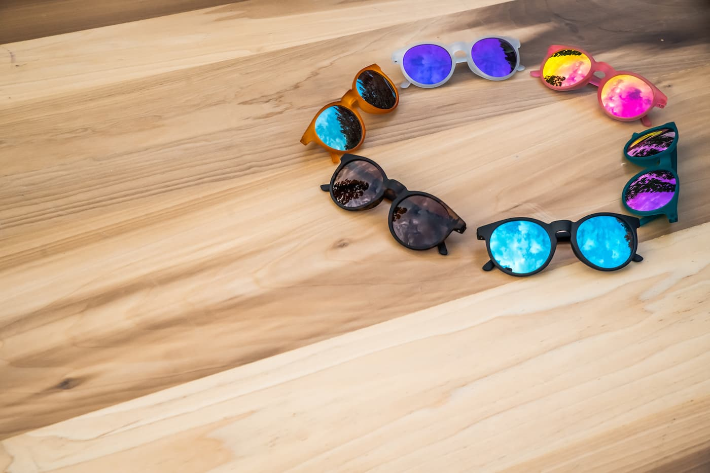six polarized round mirrored sunglasses