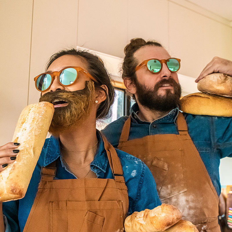 Freshly baked man buns served hot