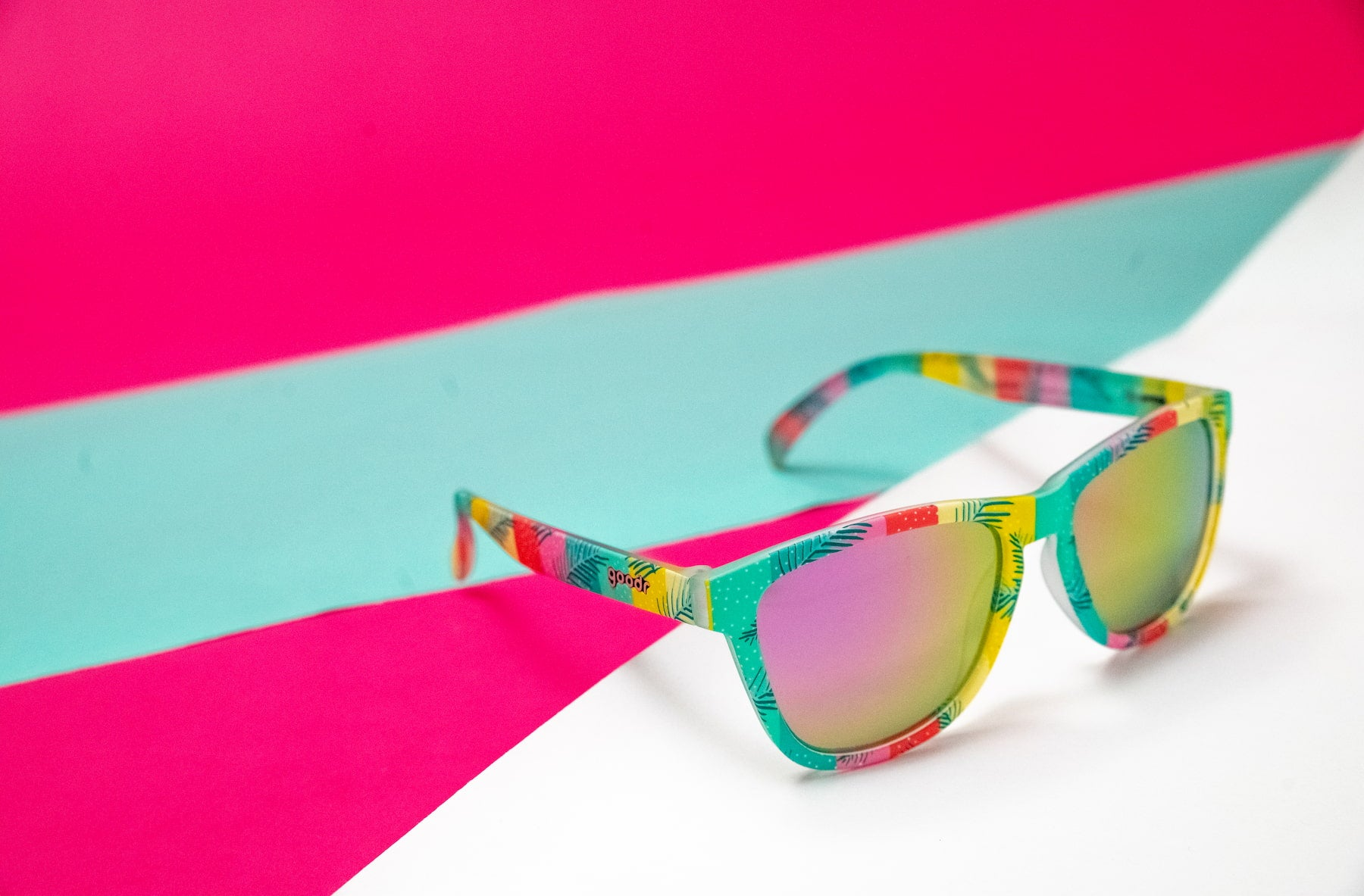 goodr polarized limited edition pink and teal sunglasses
