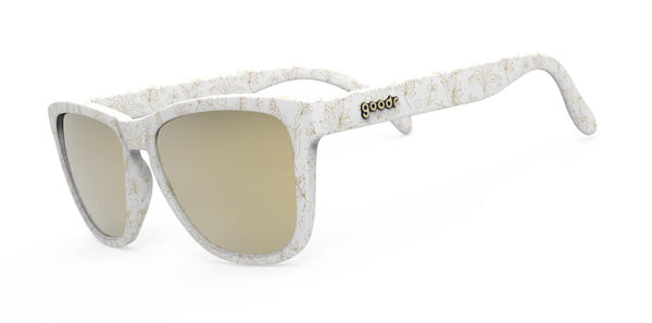 Side view of white shades with gold floral print and gold mirrored UV Protection lenses