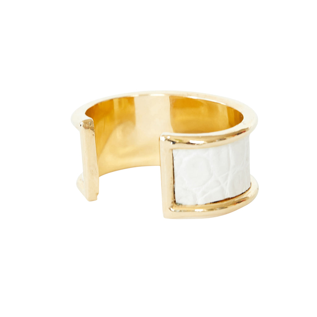 2 cm Inlay Cuff Gold with White Croco