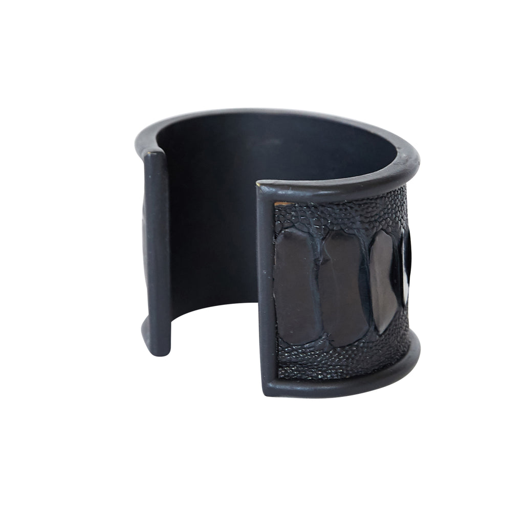5 cm Inlay Cuff Black with Ostrich Leg