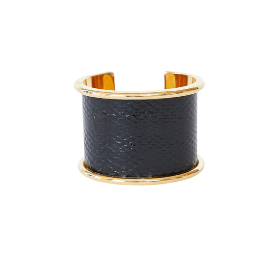 5 cm Brass Inlay cuff in Black Seasnake