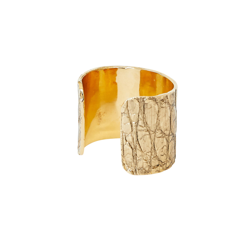 Cold Cast crocodile belly cuff in Gold