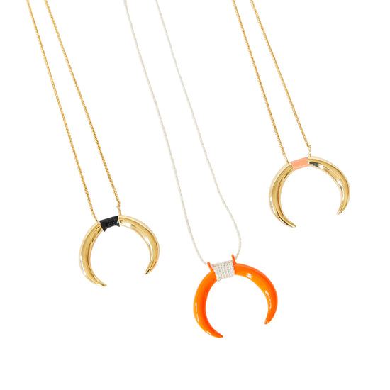 Double Horn Pendant in powder coated orange with silk rope Inlay