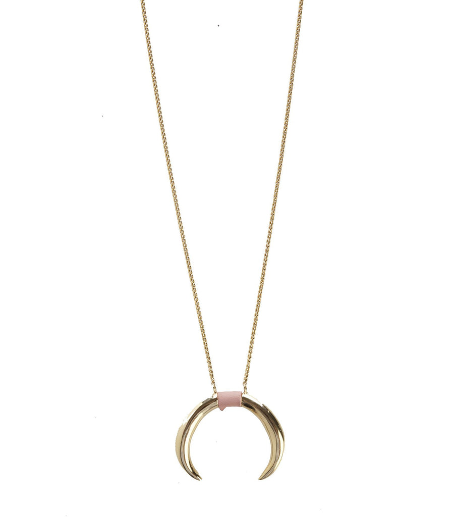 Necklace with Double Horn Pendant in Pink Inlay Leather