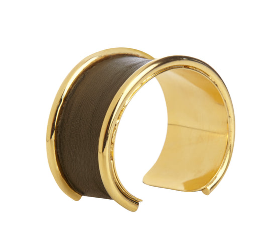 2 cm Inlay Khaki Leather Cuff Bracelet