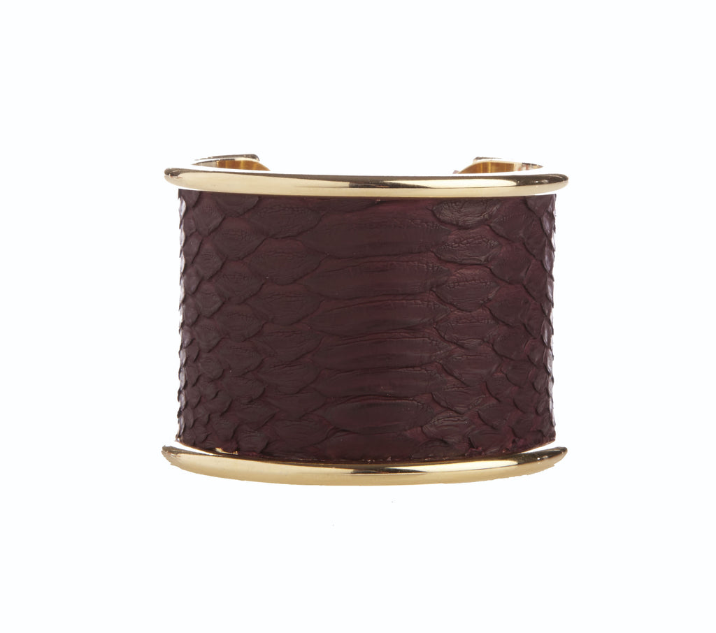 5 cm Inlay Oxblood Python Leather Cuff Bracelet